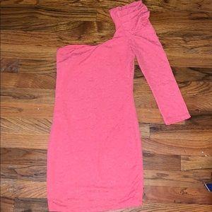 Forever 21 Peach Color One-Shoulder Mini Dress
